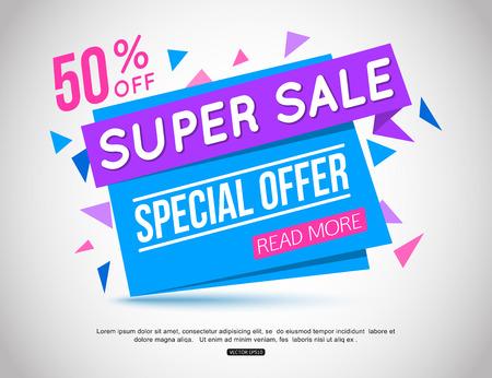 慶典: 超級銷售紙張的一面旗幟。超級銷售和特價。 50折優惠。
