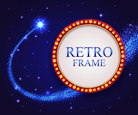 falling star: Shining retro frame with falling star. Night blue sky.