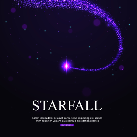 starfall: Shining falling star in the night sky. Vector illustration with place for text.