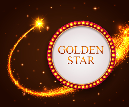 falling star: Shining retro frame with falling star. Night sky. Golden star. Vector illustration. Illustration