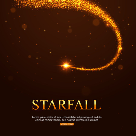Shining falling golden star in the night sky. Vector illustration with place for text. Illustration