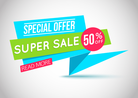 discount banner: Super Sale paper banner. Super Sale and special offer. Vector illustration.