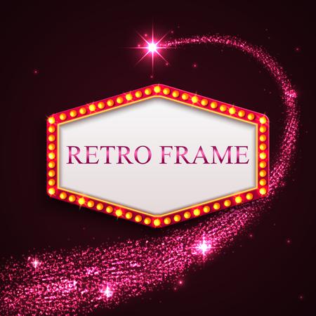 falling star: Shining retro frame with falling star. Night sky. Pink shining background. Vector illustration.