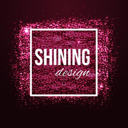 Glamour fondo rosado con brillos y el marco. Luminoso falta de definición de la moda de fondo bokeh para el diseño de la belleza. Ilustración del vector.