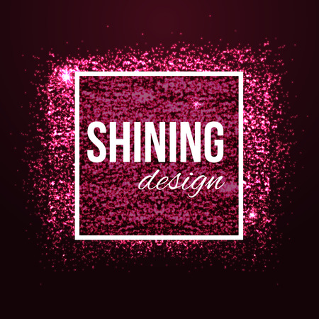 Glamour pink background with glitters and frame. Shining fashion blur bokeh background for beauty design. Vector illustration.