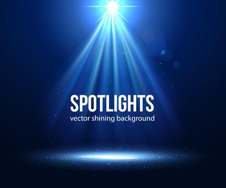 Vector scène verlicht schijnwerpers. Donkere spotlight. Stage spotlight. Spotlight achtergrond vector. Spotlight effect scene achtergrond. Toon scène schijnwerpers. Spotlight op het podium. lichteffecten vector.