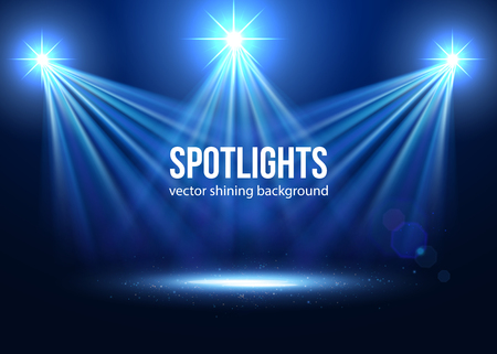 light  beam: Spotlight isolated vector. Scene illumination.  Transparent effects on a plaid dark background. Light Effects. Vector spotlight. Stage lights.