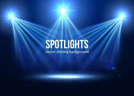 Spotlight vectorial aislado. iluminación de la escena. efectos transparentes sobre un fondo oscuro a cuadros. Efectos de luz. punto de mira del vector. Las luces del escenario.