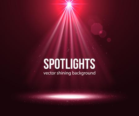 Spotlight effect scene achtergrond. Achtergrond van de show. Abstracte lichte achtergrond. Lege ruimte. Vector Binnenlandse Zaken schitterde met een projector. Red Spotlights op het podium met rook en licht. Vector Lichteffecten.