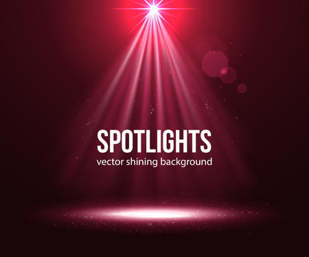Spotlight effect scene background. Background in show. Abstract light background. Empty space. Vector interior shined with projector. Red Spotlights on stage with smoke and light. Vector Light Effects.