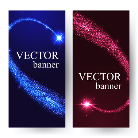 sky night: Vertical banners with shining falling stars in the night sky. Vector illustration with place for text.
