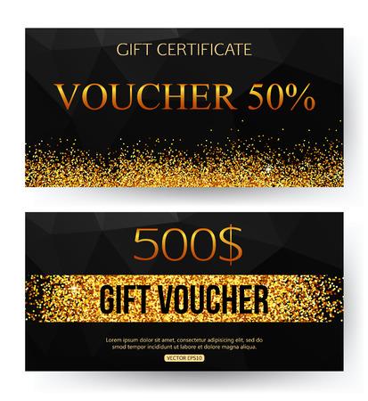 gift pattern: Gift voucher template. Gift voucher.  Voucher vector.  voucher background. Golden design for gift certificate coupon. Geometric black pattern. Golden dust.