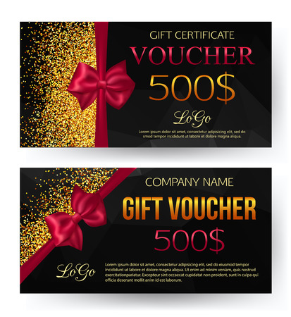 Gift voucher template. Gift card.  Voucher vector. Voucher background. Gift voucher vector. Golden design for gift certificate coupon. Geometric black pattern.