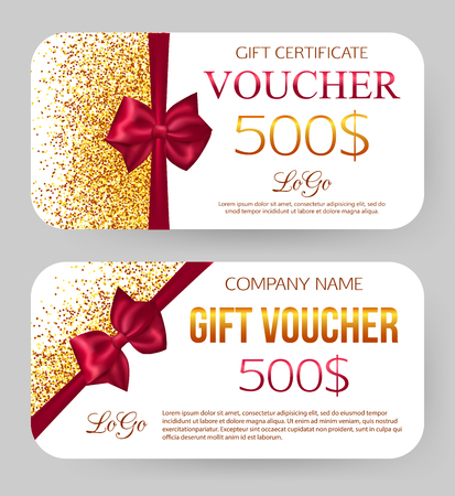 gift tag: Gift voucher template. Golden design for gift certificate coupon. Golden dust. 500$ off. Card and envelope