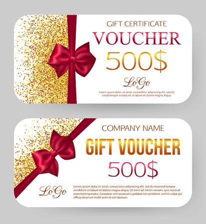 Plantilla de bono de regalo. Diseño dorado para cupón de certificado de regalo. Polvo de oro. 500 $ de descuento. Tarjeta y sobre
