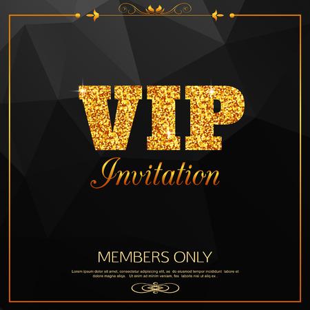 Sur fond or VIP. Club VIP. Réservé aux membres. Carte Vip. Vecteur de la carte Vip. Vecteur de fond VIP. Invitation VIP - personne très importante.
