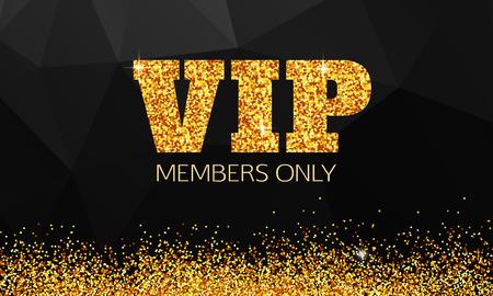 VIP なゴールドの背景。Vip クラブ。メンバーのみ。VIP カード ベクトル。ゴールド Vip のバナーです。VIP 背景ベクトル。黒い幾何学的な背景の上の黄  イラスト・ベクター素材