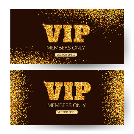 VIP banners. VIP banner vector. VIP banner design. Gold VIP banner. VIP background. Members only. Golden shiny letters and gold dust. Vector illustration.