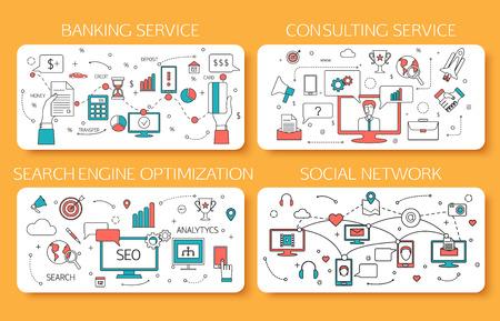銀行のサービス、コンサルティング サービス、SEO は、ソーシャル ネットワーク概要コンセプト。ベクトルの図。