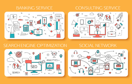 Banking service, Consulting service, SEO, Social Network outline concept. Vector illustration.
