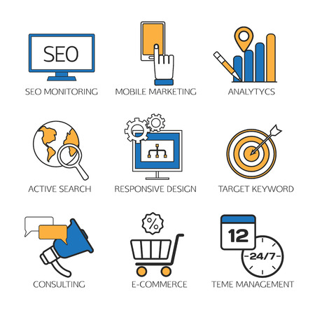 keyword: Search engine optimization technology outline icons set,  user web search experience.  SEO monitoring, mobile marketing, analytics, active search, responsive design, target keyword, consulting, e-commerce, time management. Vector illustration.