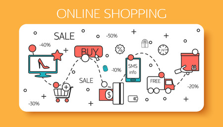 coupon: Online shopping  outline concept of purchasing process in online store. Vector illustration. Illustration