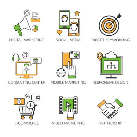 media center: Social network outline icons set of communication process in internet, mobile phones, computers. Digital marketing, mobile marketing, responsive design, consulting center, social media, video marketing. Vector illustration. Illustration