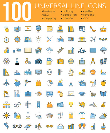 Set of 100 Minimal Universal Line Icons. Business and finance, seo and education, shopping and holiday, weather and traveling, sport. Vector illustration.