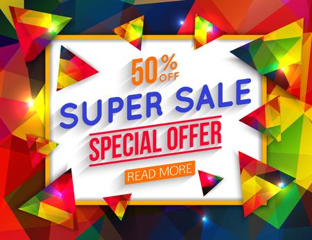 50 off: Super Sale Special Offer banner on colorful background.  Web banner. Banner vector. Web banner designs. Web banner template. Banner design. Banner template. Banner background.  Geometric design. 50% off. Vector illustration.