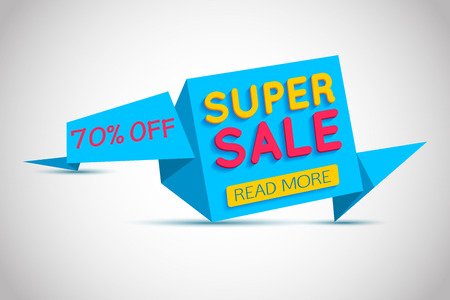 Super Sale blue paper banner. Super Sale and special offer. Up to 70% off. Web banner. Banner vector. Web banner designs. Web banner template.