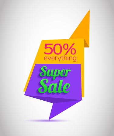 offer icon: Super Sale paper banner. Super Sale and special offer. Web banner. Banner vector. Web banner designs. Web banner template. Banner design. Banner template. Banner background. Up to 50% off. Vector illustration