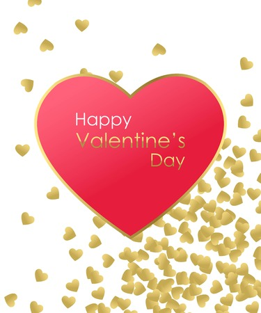 love hands: Happy Valentines Day Gold Background. Gold and red heart with golden text. Template for creating Greeting card, Wedding invitation, Valentines Day Card. Be My Valentine. Love You. Love Background. Vector illustration.