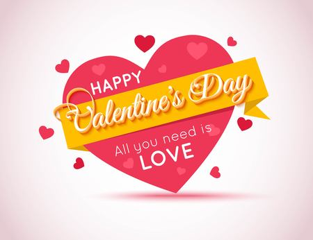 Happy Valentines Day Flyer. Template for creating Advertising Banner, Brochure, Booklet, Poster, Sale leaflet, Sale Flyers Discount. Be My Valentine. Love You. Love Background. All You Need is Love