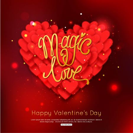 MAGIC LOVE - Valentines Day Greeting card. Happy Valentines Day Background