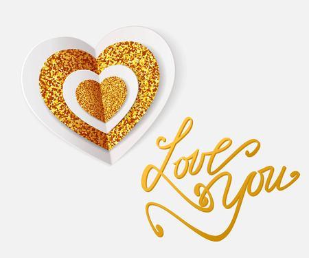 LOVE YOU -  Valentines Day Greeting card. Happy Valentines Day Background. Vector illustration. Ilustração