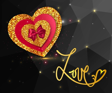 gold heart: Magic love shining geometric background. Gold heart with red bow.