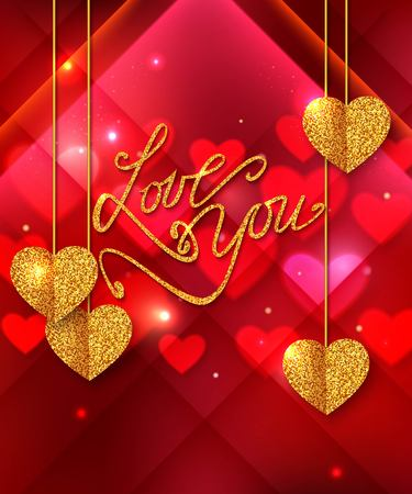 gold heart: Love you shining background. Gold heart. Valentines Day greeting card, invitation.
