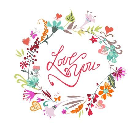 Wedding Hand Drawn éléments floraux vintage. Ensemble de fleurs, des arcs, des cadres, des icônes et des éléments décoratifs.