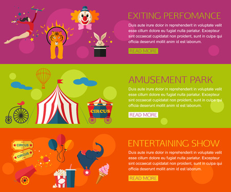 Circus performance, entertainment, amusement show compositions with circus icons. Flat style design. Vector illustration.