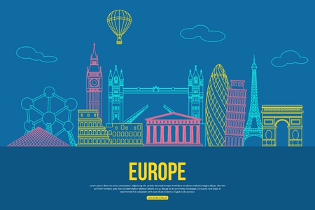 Europe travel background with place for text. Isolated European outlined sightseeings and symbols. Skyline detailed silhouettes. Vector illustration.