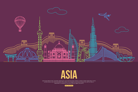 sightseeings: Asia travel background with place for text. Isolated Asian outlined sightseeings and symbols. Skyline detailed silhouettes. Vector illustration.