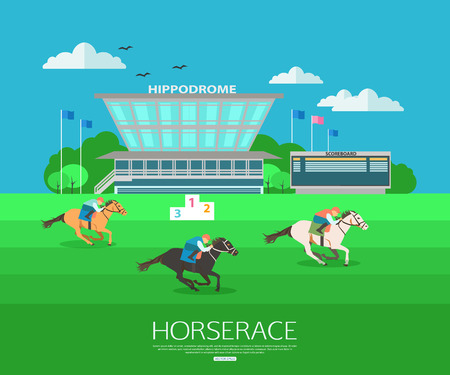 Horserace backgroung with place for text. Flat style design. Vector illustration. Иллюстрация