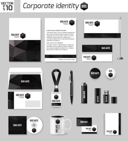 documentation: Corporate identity business photorealistic design template. Classic stationery template design. Documentation for business. Vector illustration. Illustration