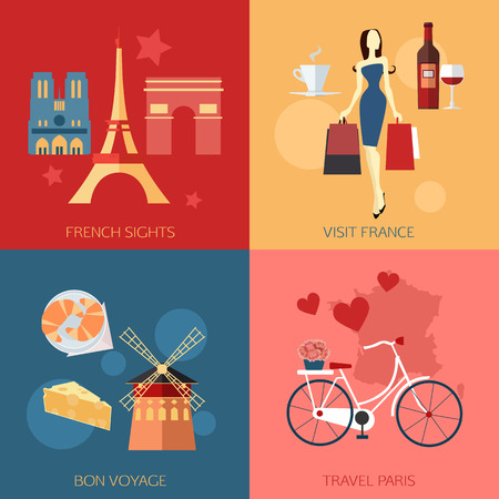 shopping champagne: Set of France travel compositions with place for text. French Sights, Visit France,  Bon Voyage, Travel Paris. Set of colorful flat icons for your design. Vector illustration.