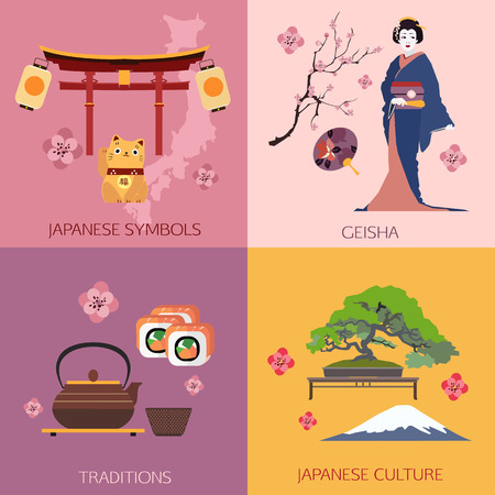 Set of Japan travel compositions with place for text. Japanese symbols, Geisha, Traditions, Japanese culture. Set of colorful flat icons for your design. Vector illustration.