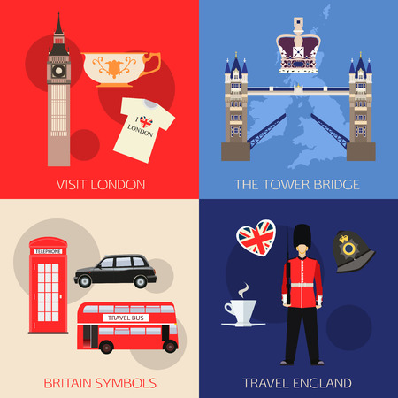 guard box: Set of England travel compositions with place for text. Visit London, The Tower Bridge, Britain Symbols, Travel England. Set of colorful flat icons for your design. Vector illustration.
