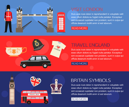 guard box: Set of England travel horisontal banners with place for text. Visit London, Britain Symbols, Travel England. Set of colorful flat icons for your design. Vector illustration.