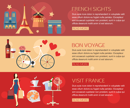 shopping champagne: Set of France travel horisontal banners with place for text. French Sights, Visit France,  Bon Voyage. Set of colorful flat icons for your design. Vector illustration. Illustration