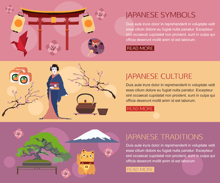Set of Japan travel horisontal banners with place for text. Japanese symbols, Geisha, Traditions, Japanese culture. Set of colorful flat icons for your design. Vector illustration.