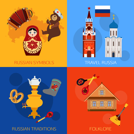 matrioshka: Set of Russia travel compositions with place for text. Russian symbols, travel Russia, Russian traditions, Folklore. Set of colorful flat style design icons. Vector illustration.